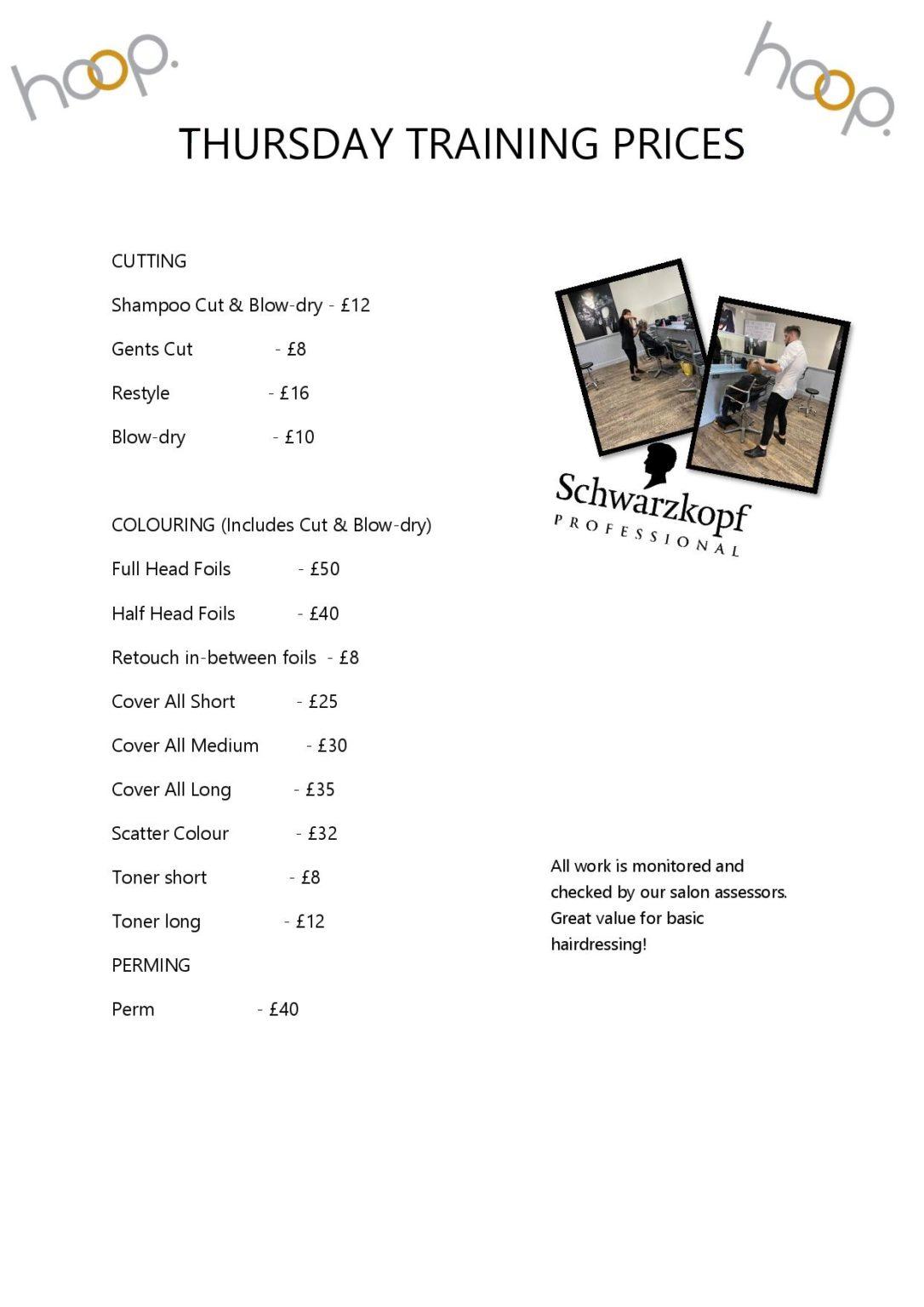 NEW TRAINING PRICE LIST page 001
